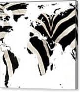 Zebra Fur World Map Canvas Print
