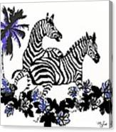 Zebras At Play Canvas Print