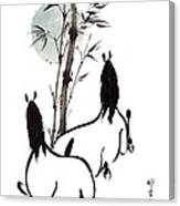 Zen Horses Moon Reverence Canvas Print