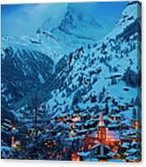 Zermatt - Winter's Night Canvas Print