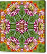 Zinging Zinnia Kaleidoscope Canvas Print