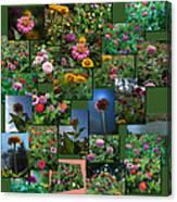 Zinnias Collage Square Canvas Print