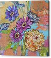 Zinnias From The Garden Canvas Print