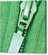 Zipper Of A Green Sweater Canvas Print