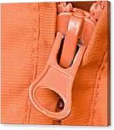 Zipper Of A Orange Jacket Canvas Print