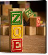 Zoe - Alphabet Blocks Canvas Print