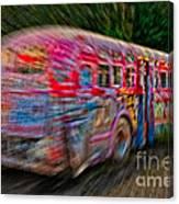 Zooming Graffiti Bus Canvas Print