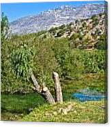 Zrmanja River And Velebit Mountain Canvas Print