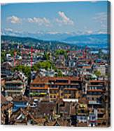 Zurich From The Grossmunster Canvas Print