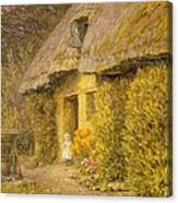 A Child At The Doorway Of A Thatched Cottage  Canvas Print