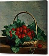 Basket Of Strawberries Canvas Print