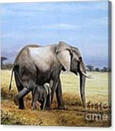 Elephant And Her Child Canvas Print