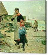 Fisherfolk Returning With Their Nets Canvas Print