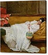 Girl In A White Dress Resting On A Sofa Canvas Print
