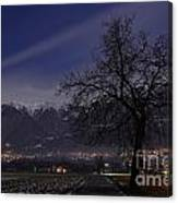 Tree And Snow-capped Mountain Canvas Print