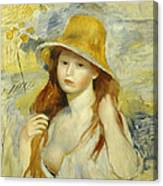 Young Girl With A Straw Hat Canvas Print