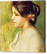 Young Woman With Flowers At Her Ear Canvas Print