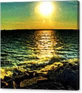 0001 Windy Waves Sunset Rays Canvas Print