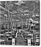 005bw On A Summers Day  Erie Basin Marina Summer Series Canvas Print
