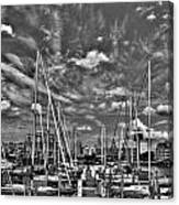 007bw On A Summers Day  Erie Basin Marina Summer Series Canvas Print