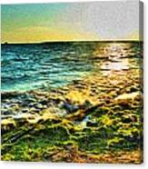 00013 Windy Waves Sunset Rays Canvas Print