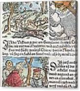1557 Lycosthenes Rain Of Stones Meteorite Canvas Print