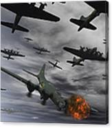 A B-17 Flying Fortress Is Set Ablaze Canvas Print