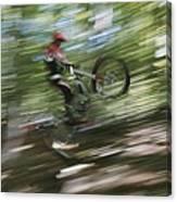 A Boy Flies Through The Air Canvas Print