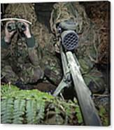 A British Army Sniper Team Dressed Canvas Print