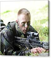 A British Soldier Armed With A Sa80 Canvas Print