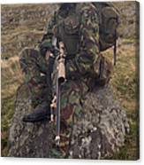A British Soldier Armed With A Sniper Canvas Print