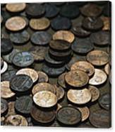 A Close View Of American Money Canvas Print
