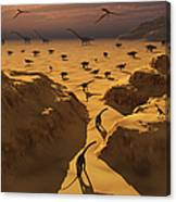 A Mixed Herd Of Dinosaurs Migrate Canvas Print