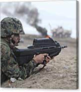 A Peruvian Marine Assaults A Beach Canvas Print
