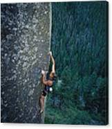 A Rock Climber In Montanas Hyalite Canvas Print