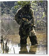 A Sniper Dressed In A Ghillie Suit Canvas Print