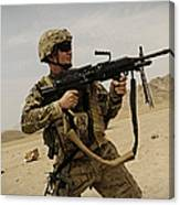 A Soldier Firing His Mk-48 Machine Gun Canvas Print