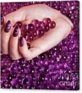 Abstract Woman Hand With Purple Nail Polish Canvas Print