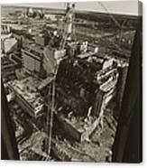 Aerial View Of Chernobyl Soon After The Accident. Canvas Print