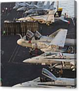Aircraft Parked On The Flight Deck Canvas Print