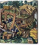America: Shipbuilding, C1594 Canvas Print