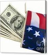 American Flag Wallet With 100 Dollar Bills Canvas Print