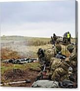 An 81mm Mortar Team Live Firing Canvas Print