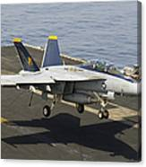 An Fa-18e Super Hornet Trap Landing Canvas Print