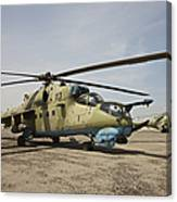 An Mi-35 Attack Helicopter At Kunduz Canvas Print