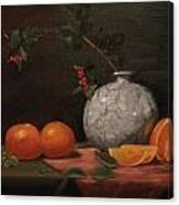 Asian Vase With Oranges Canvas Print