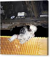 Astronaut Participates In A Spacewalk Canvas Print