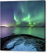 Aurora Borealis Over Vagsfjorden Canvas Print