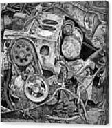 Auto Engine Block From A Wrecked Car Canvas Print