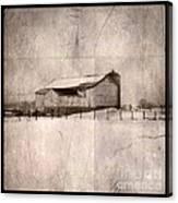 Barn In Snow Canvas Print